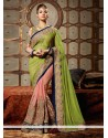Ayesha Takia Peach And Green Net Designer Saree