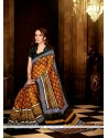 Scintillating Handloom Silk Multi Colour Print Work Casual Saree