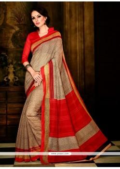 Blooming Print Work Handloom Silk Casual Saree