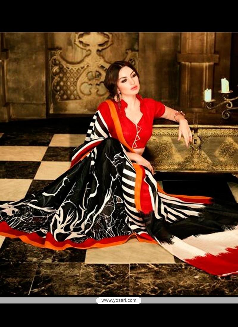 Modernistic Multi Colour Print Work Handloom Silk Casual Saree
