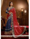 Ayesha Takia Red And Blue Viscose Wedding Saree