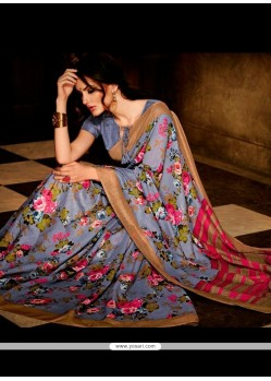 Festal Handloom Silk Multi Colour Print Work Casual Saree