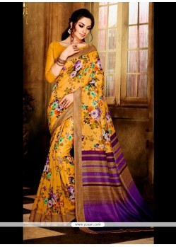Catchy Print Work Handloom Silk Casual Saree