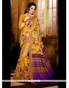 Catchy Print Work Handloom Silk Casual Saree