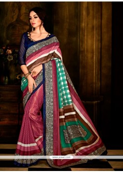 Multi Colour Print Work Handloom Silk Casual Saree