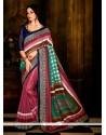 Multi Colour Print Work Handloom Silk Casual Saree