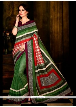 Unique Multi Colour Print Work Handloom Silk Casual Saree
