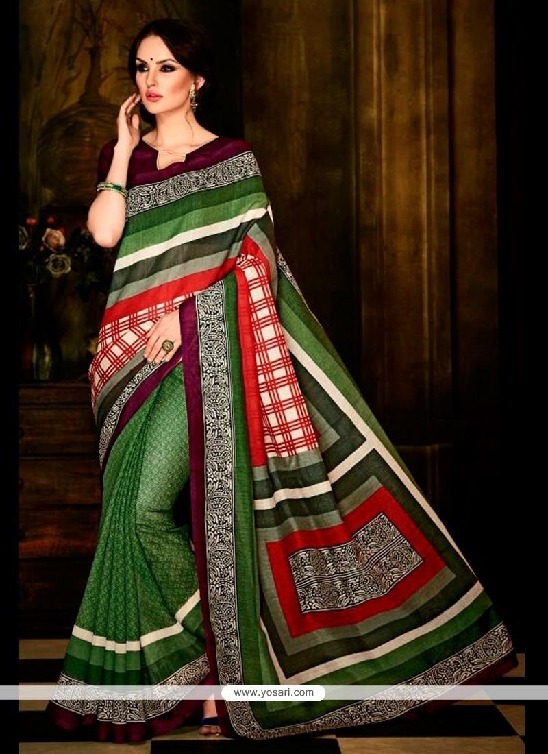Unique Multi Colour Print Work Handloom Silk Casual Saree