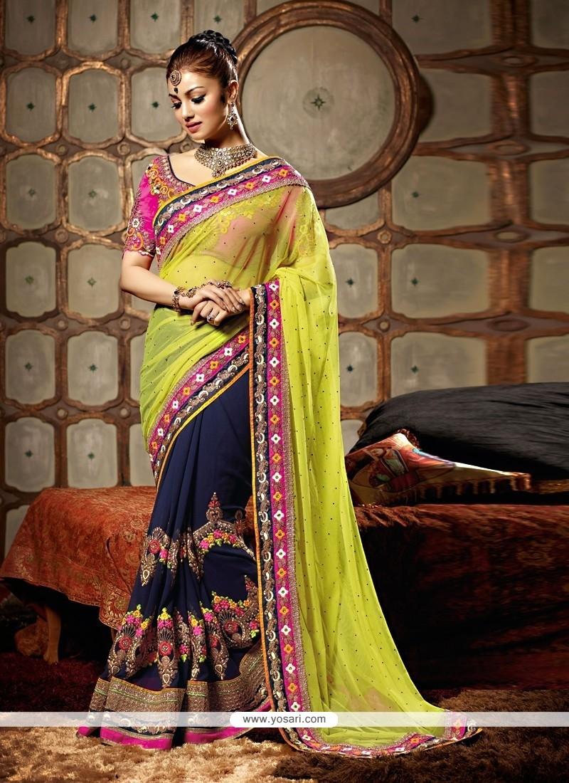Ayesha Takia Green And Blue Resham Designer Saree