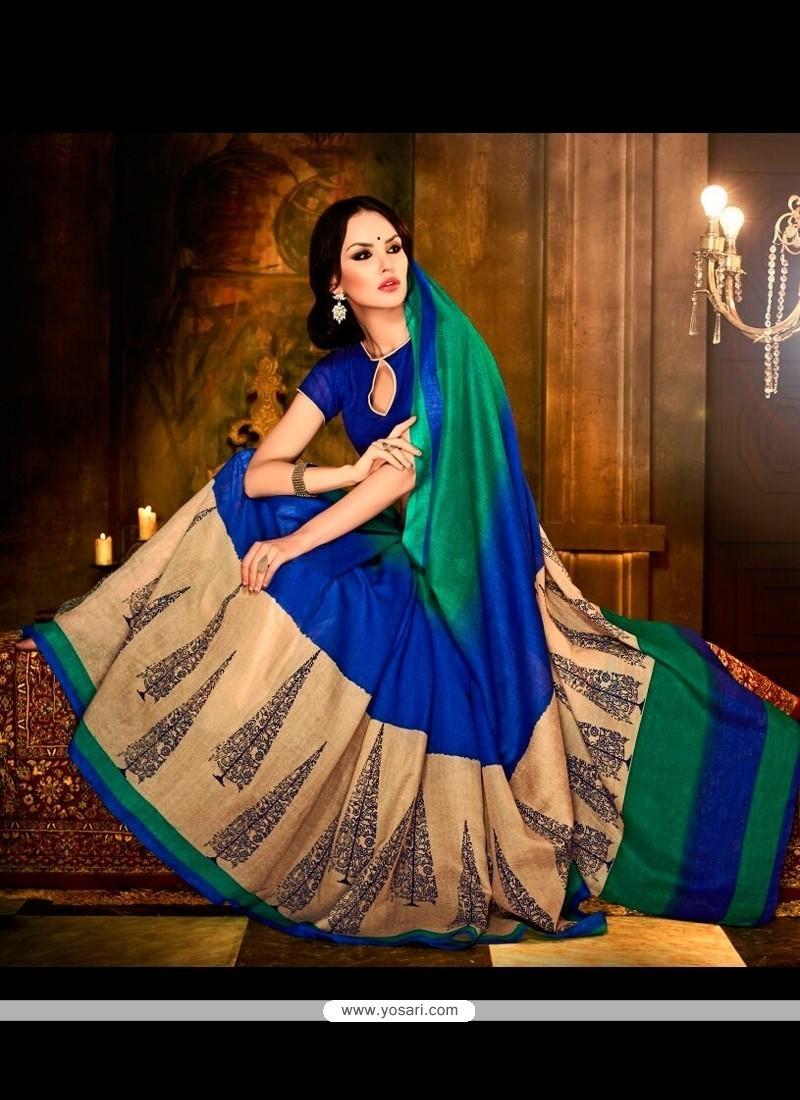 Simplistic Handloom Silk Multi Colour Print Work Casual Saree