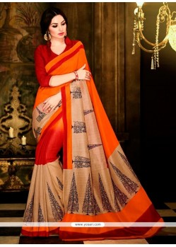 Masterly Multi Colour Print Work Handloom Silk Casual Saree