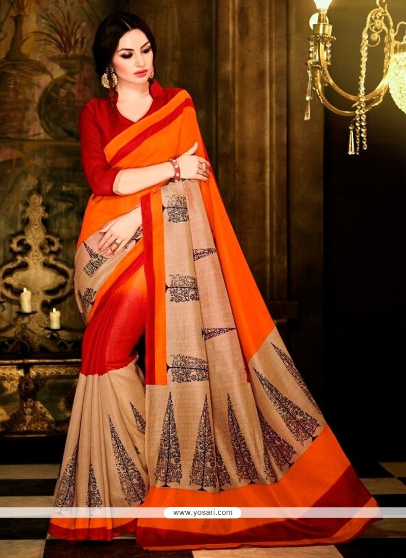 Masterly Multi Colour Print Work Handloom Silk Casual Saree