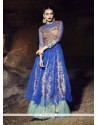Trendy Net Resham Work Blue Designer Gown