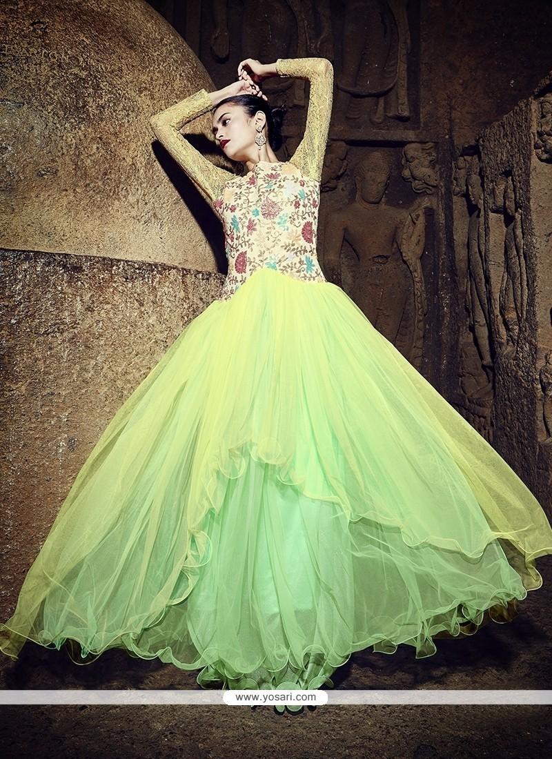 Impressive Embroidered Work Georgette Designer Gown