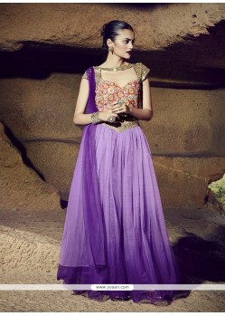 Purple Net Resham Work Designer Gown