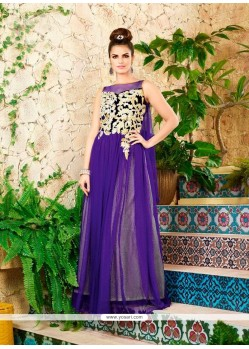 Capricious Net Purple Designer Gown