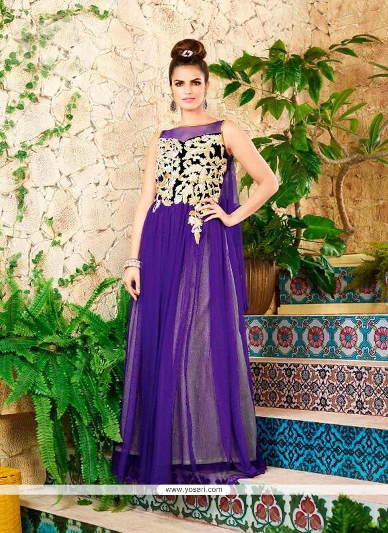 Capricious Net Purple Designer Gown