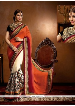 Ayesha Takia Orange And Cream Georgette Designer Saree