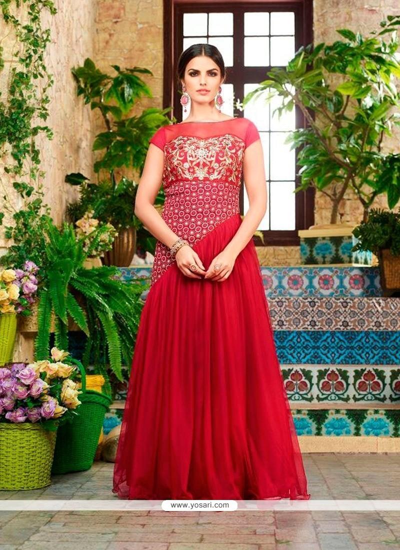 Fantastic Red Net Designer Gown