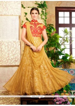 Thrilling Embroidered Work Net Yellow Designer Gown