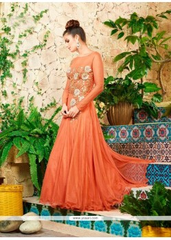 Net Peach Embroidered Work Designer Gown