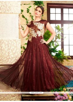 Brown Net Embroidered Work Designer Gown