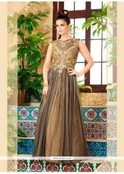 Festal Net Embroidered Work Grey Designer Gown