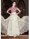 Off White Net Embroidered Work Designer Gown
