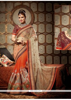 Ayesha Takia Orange And Cream Georgette Saree