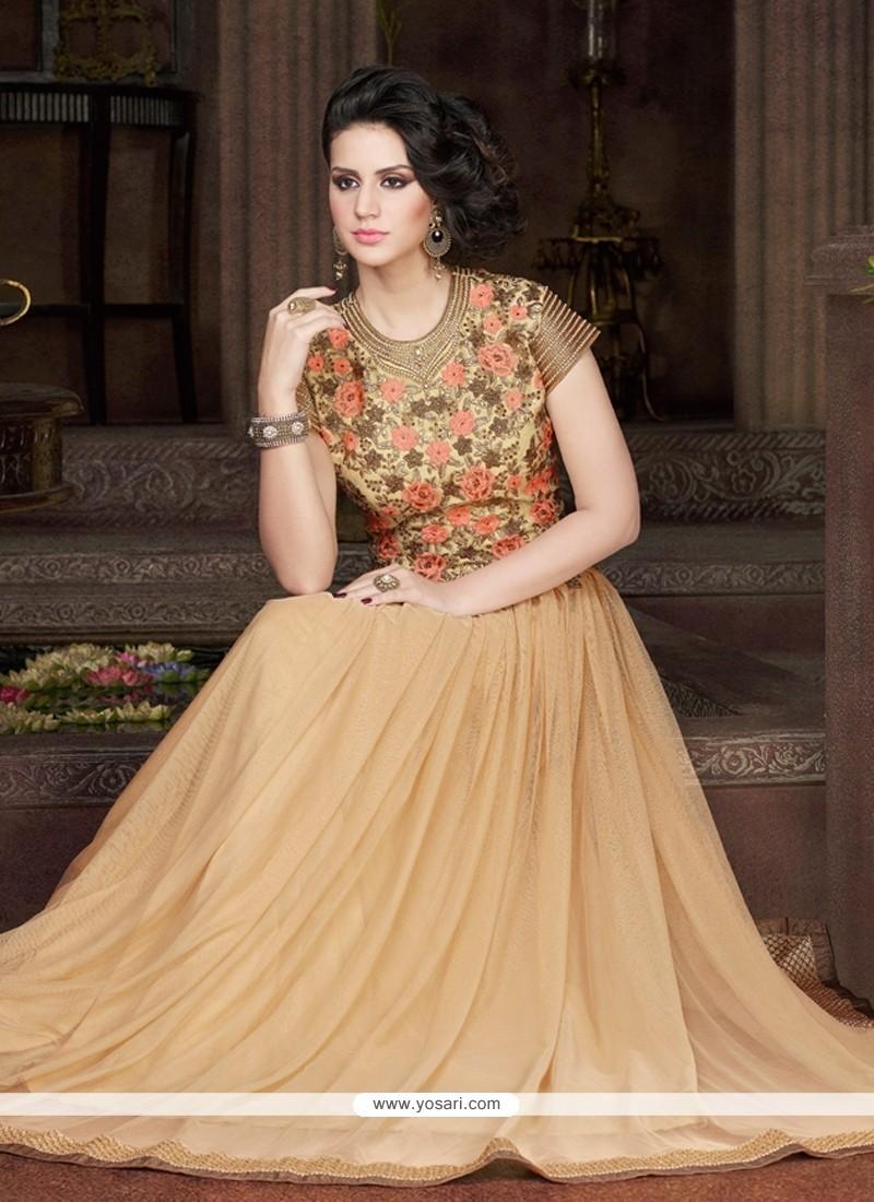 Amazing Resham Work Net Beige Designer Gown