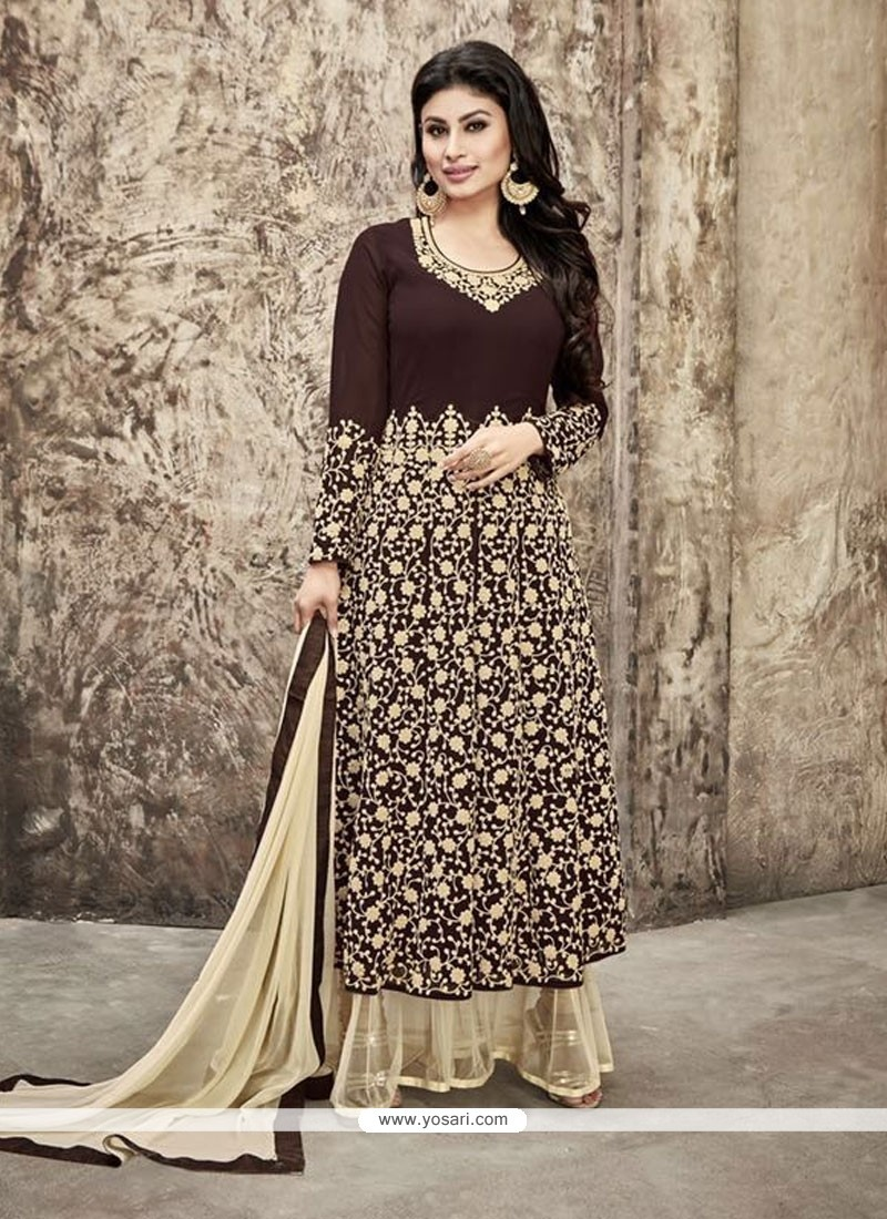 Phenomenal Brown Embroidered Work Georgette Designer Palazzo Salwar Suit