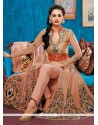 Spectacular Patch Border Work Peach Designer Salwar Suit