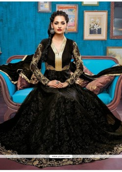 Beckoning Net Black Anarkali Salwar Suit