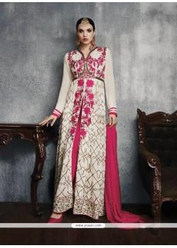 Angelic Cream And Hot Pink Designer Suit