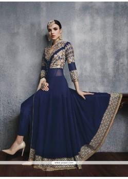 Dilettante Navy Blue Resham Work Designer Suit