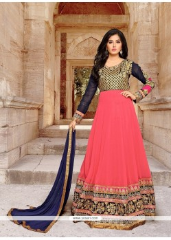 Tiptop Georgette Pink Patch Border Work Anarkali Salwar Kameez