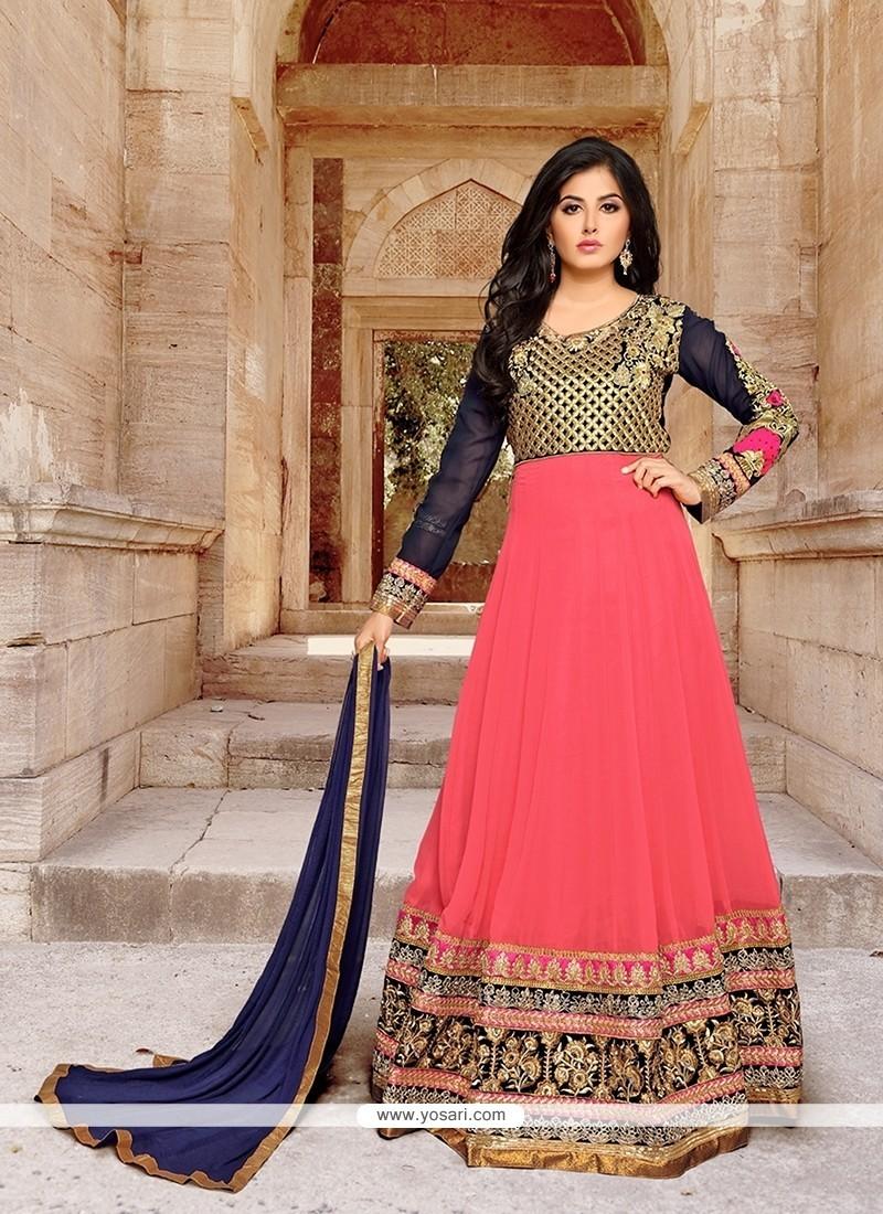 Tiptop Georgette Pink Patch Border Work Anarkali Salwar Kameez