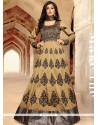 Luxurious Embroidered Work Beige Anarkali Salwar Kameez