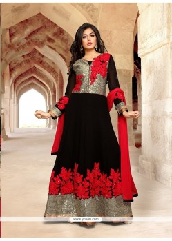 Exceeding Georgette Patch Border Work Anarkali Salwar Kameez