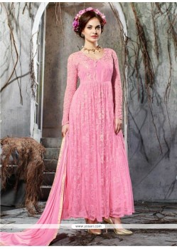 Fantastic Pink Net Anarkali Salwar Kameez