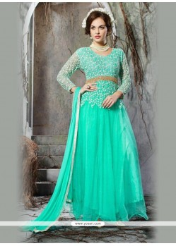 Glamorous Embroidered Work Net Turquoise Anarkali Salwar Kameez