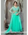 Glamorous Embroidered Work Net Turquoise Anarkali Salwar Kameez