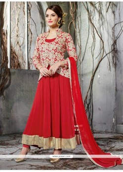 Captivating Net Embroidered Work Anarkali Salwar Kameez