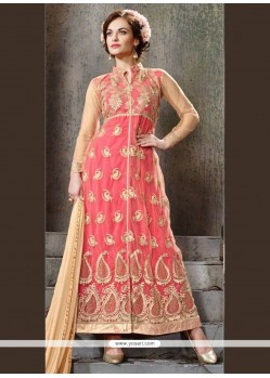 Amazing Embroidered Work Pink Georgette Designer Suit