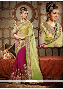 Ayesha Takia Green And Pink Net Designer Saree