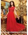 Alluring Georgette Red Anarkali Salwar Kameez