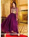 Glitzy Resham Work Purple Net Anarkali Salwar Kameez