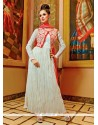 Glossy Resham Work Off White Georgette Anarkali Salwar Kameez