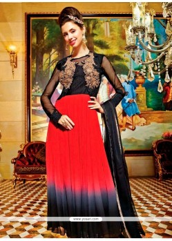 Delectable Resham Work Black And Red Georgette Anarkali Salwar Kameez