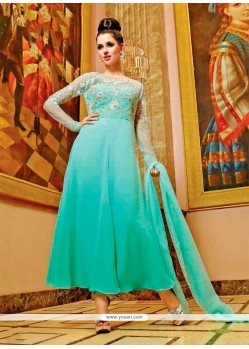 Embroidered Net Anarkali Salwar Kameez In Sea Green